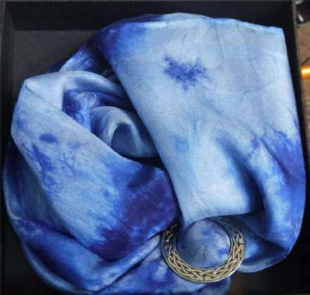 "Ladycrow Smooth Pongee Silk Scarf ""Indigo"" with Scarf Ring"